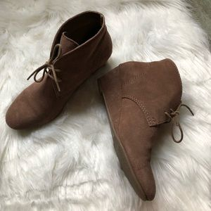 "Taupe 2"" heel suede ankle booties - Size 8.5"